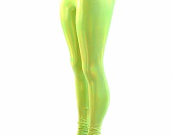 Neon Lime Green Holographic High Waist Spandex Leggings  -153966