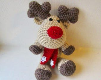 Rudolph The Red Nosed Reindeer Toy, Crochet Reindeer Toy, Christmas Reindeer Stuffed Animal, Reindeer Arigurumi Toy, Reindeer Decoration Toy