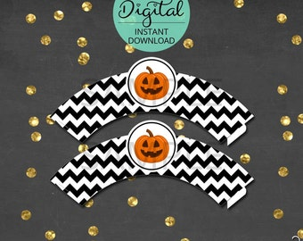 Halloween Cupcake Wrappers, Halloween Decoration, Halloween Decor, Cupcake Decorations, Chevron, Halloween Party, INSTANT DOWNLOAD #9512
