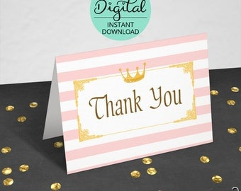 Princess Birthday Thank You Cards, Princess Thank You, Folded Cards, Princess Birthday, Thank You Cards, INSTANT DOWNLOAD #5124