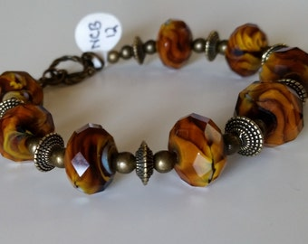 Brown and Tawny Swirled Faceted Bracelet