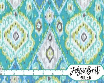 TEAL GREEN IKAT Fabric by the Yard Fat Quarter Aqua Fabric Geometric Ikat Fabric Quilting Fabric Apparel Fabric 100% Cotton Fabric a5-9