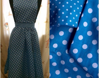 Apron -  Turquoise polka dots - retro kitch