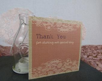 Blush Vintage Lace Wedding Thank You card