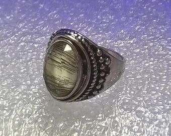 Artisan Facet Cut Rock Crystal silver ring Mens or Womens