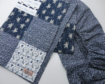 Nautical Crib Bedding Set - Crib quilt and Fitted Crib Sheet - Ready to Ship