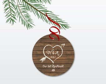 Our First Apartment Christmas Ornament - Personalized 1st Apartment Ornament - Unique Housewarming Gift - Rustic Ceramic Ornament with Heart