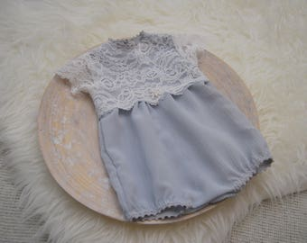 Newborn Romper, Newborn Photo Prop, Newborn Girl Outfit, Light Gray/White, Lace Romper, Newborn Bloomers, Baby Outfit, Baby Prop