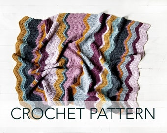 Crochet Pattern // Chevron Colorful Striped Afghan Baby Blanket Throw // Elizabeth Zigzag Blanket PATTERN