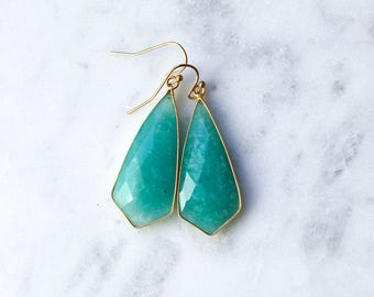 Amazonite Drop Earrings in Gold or Silver