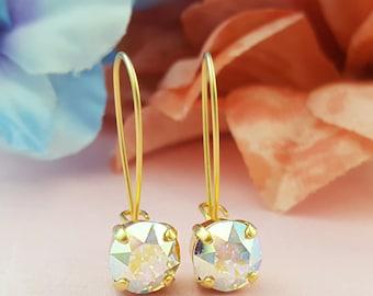 Dainty Gold Earring, AB Crystal Drop Earrings, Iridescent Earring, Crystal AB, Round Crystal Earring, Swarovski, Simple, Delicate, E3429