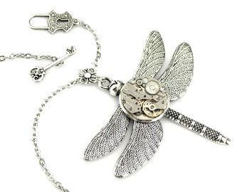 Steampunk Chic Pendant - Dragonfly Pendant with toggle clasp -  Clockwork Dragonfly Pendant - Edwardian Steampunk Dragonfly Necklace