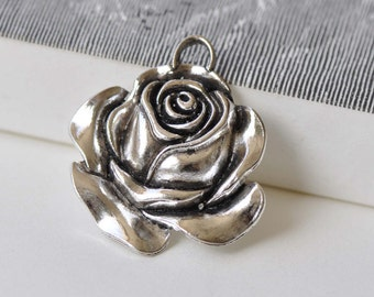 4 pcs Antique Silver Rose Flower Charm Pendants 32x35mm A8795