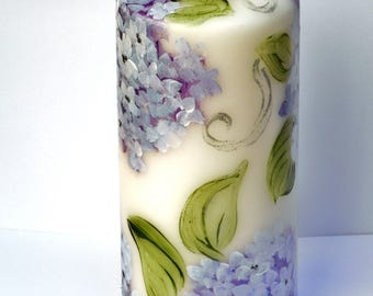 Hydrangea Flower Candle FREE SHIPPING Hand Painted Romantic Floral Home Decor