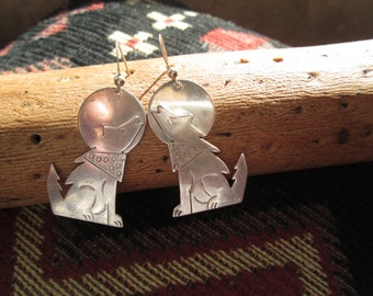 Sterling Silver Coyote wearing a Bandana, Howling at the Moon Dangle Earrings