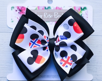 """Ready to ship! Large 4"""" Disney World Epcot around the world Mickey Minnie Mouse  hair bow or headband"""