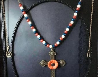 Long Beaded Necklace, Gift For Her, Red White & Blue, Large Cross, Beaded Necklace, Cross Pendant, Poppy Jewelry, Religious Jewelry, British