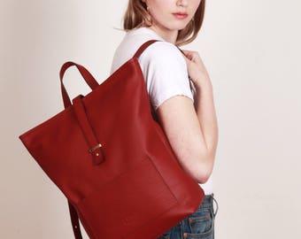 Leather Backpack,red Leather Backpack,Minimal red Backpack,zipper,backpack, SCARLETT GRENADE