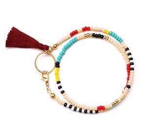 Seed Bead Bracelet, Tassel Bracelet, Beaded Wrap Bracelet