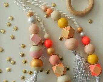 Gold, rouge, blush painted wooden beads with bright silver tassels bouquet wall hanging, wall decor, handmade