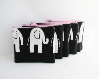 Set of 6 - Elephant Cosmetic Bags - Monogram Makeup Bags - Bridesmaid Purse - Zip Wallet - Birthday, Team Gift - Gift for Her - Small