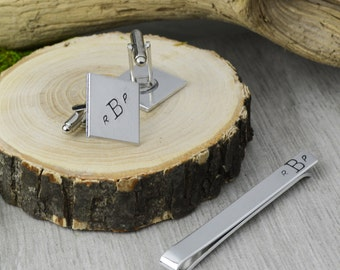 Custom Monogram Tie Bar and Cuff Link Set - Hand Stamped Groomsman Gift