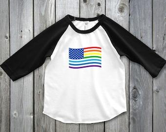 Rainbow Flag Shirt, Rainbow Flag Raglan Tee, Lesbian Moms Two Moms Two Mommies, LBGT Pride Shirt, Gay Baby Shower, Gay Pride Shirt for Kids