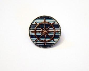 Retro Nautical Ship Wheel 20 mm Dinky Brooch