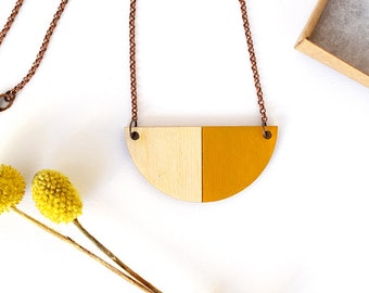 Geometric wood necklace, mustard necklace, lasercut necklace, wood jewelry, for her, laser cut jewellery, plywood, nickelfree, studio maas