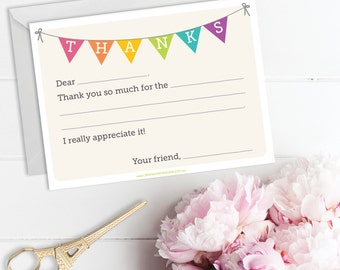 Fill In The Blank Thank You Cards - Kids Thank You Note Card - Fill In Thank You Card - Birthday Thank You Card - Instant Download