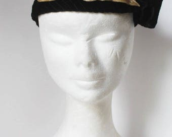 Original 1930's Black Silk Velvet Evening Hat