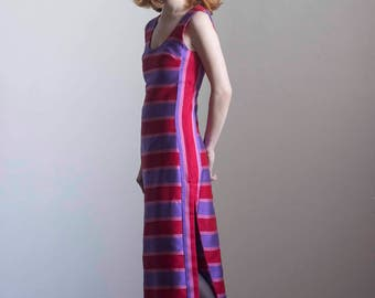 1960s Red and Purple Striped Silk Dupioni Maxi Dress // Size Small