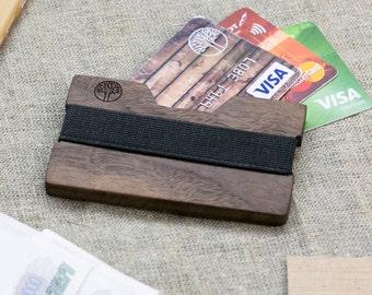 Wood wallet, Walnut  SLIM, Minimalist Wallet, Card holder, Best for boyfriend's gift , Slim & Light wallet, Mini Mens wallet  + Engraving