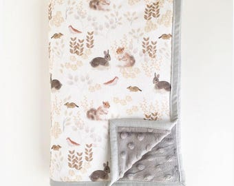 Cot / Crib Minky Blanket oversized - Woodland Creatures - Made To Order