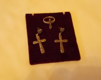 Sterling Silver and Marcasite Stud Cross Earrings and Matching Ring.  (504)