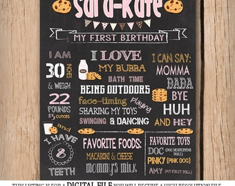 Milk and Cookies 1st Birthday Poster Only - Chalkboard - Invitation - First Birthday - Personalized Printable