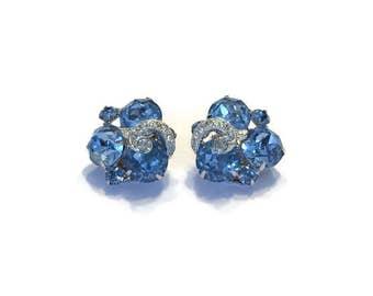 Signed Eisenberg Earrings, 1940s 1950s Blue Rhinestone Earrings, Vintage Clip Earrings, Wedding Bridal Jewelry, Costume Jewelry