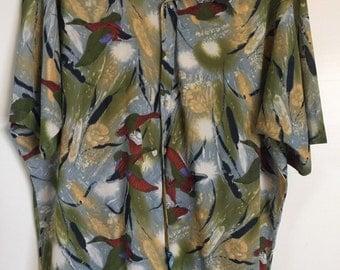 HABAND PATERSON Vintage Disco Shirt Duck Print Mens XXL 2XL 70's