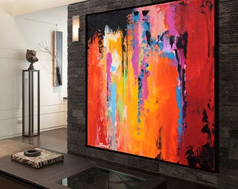 Large Abstract Contemporary Art Canvas Painting, Handmade Acrylic Painting, Abstract Canvas Art, Yellow, Orange Red Purple