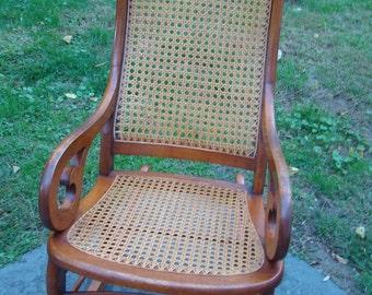 Vintage Rocker, Vintage Victorian, Rocking chair, Victorian chair, Wood rocking chair, Antique furniture, Wicker chair, Nursery decor, 1900s