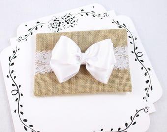 White Bow Baby Headband, Baptism Headband, Triple Bow Headband, Newborn Headband, Satin Baby Bow, Baby Gift