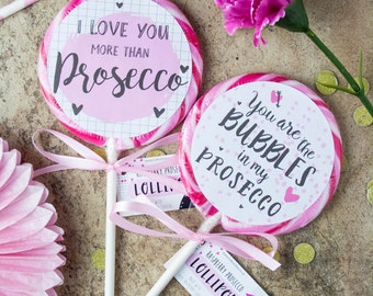 Two Boozy Raspberry Prosecco Lollipop Valentines Set - Valentines Gift - Gift for Her - Food Gift - Gift for Him - Funny - Anniversary