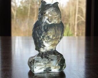 "Boyd Clear Glass Owl, Boyd Glass Owl Figurine, 3-1/2"", Owl Lovers Gift, Retro Owl Decor, Small Vintage Bird Figurines,Wildlife, B in Diamond"