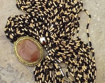 vintage jewelry-Africa tribal necklace-1980s jasper cabochon necklace-multi 24 strand necklace-boho ethnic necklace-wood glass bead necklace