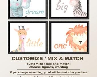 safari nursery animal wall art, jungle baby animal nursery, dream big little one, zoo animal nursery, safari baby room art, safari kids room