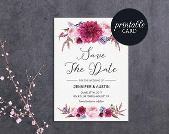 Save the Date Printable Floral Save the Date Card Pink Save the Date Card Burgundy Save the date, Printable Save the Date Card Boho Wedding