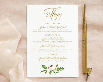 Wedding Menu in Blush Greenery and Gold for Boho Wedding