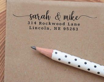 Personalized Custom Return Address Stamp - Great Wedding, Newlywed, Housewarming, New Home, Gift Love Heart Self inked, Pre-inked RE916