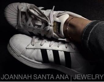 White Topaz | Bar Chain Anklet