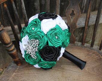 Emerald Green Wedding Bouquet, Emerald Green, Black, & White Fabric Bouquet, Emerald Green and Black Wedding, Kelly Green Wedding